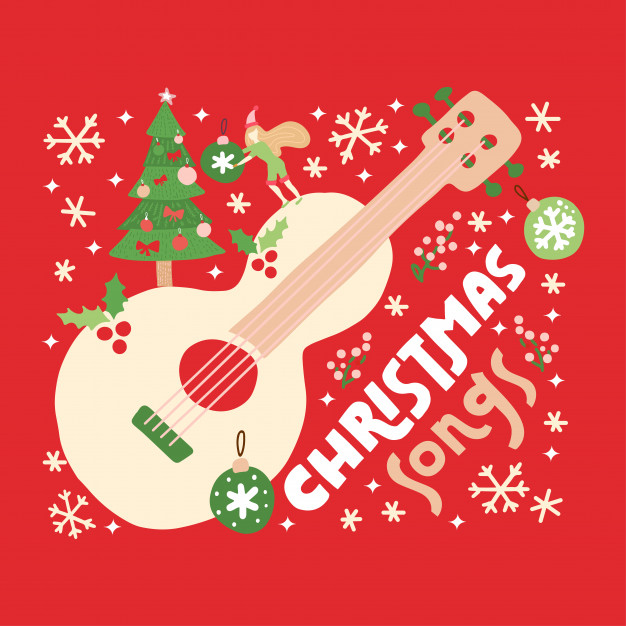 christmas-songs-guitar-red-background_119217-430